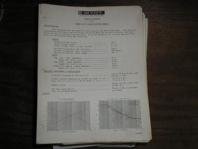 LC-21 Stereo Control Center Service Manual..  schematic dated June 6th 1961