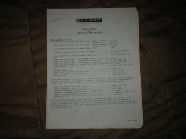 LK-72B Stereo Amplifier Service Manual..Schematic is dated August 28th 1963