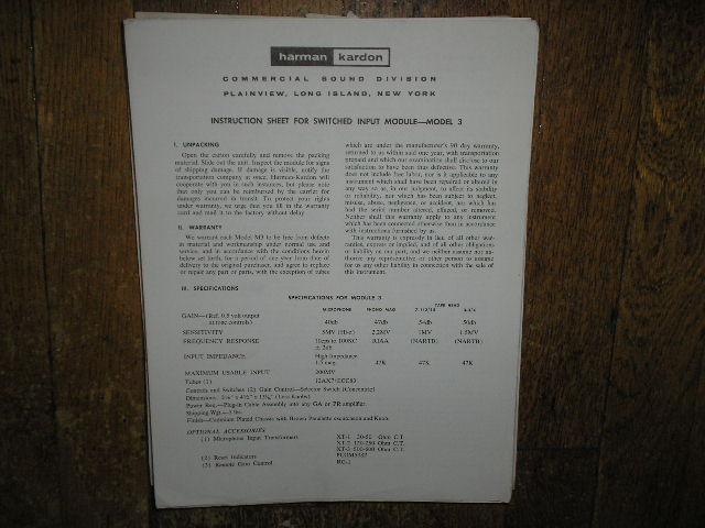 Model 3 Input Module Service Information