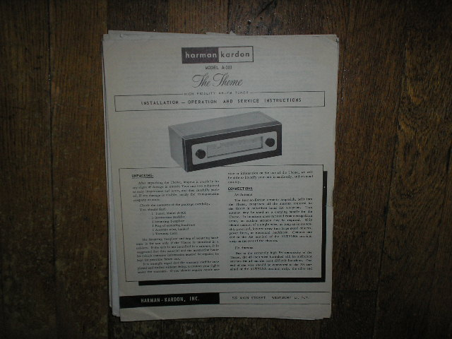 Model A-300 AM FM The Theme Tuner Service Information