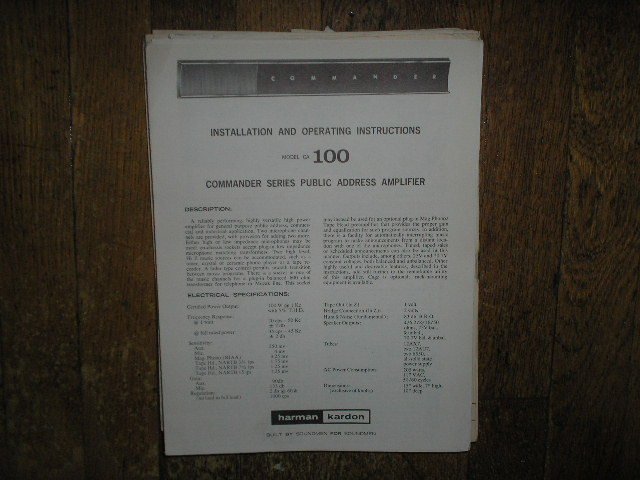 Model CA-100 PA Amplifer Service Information