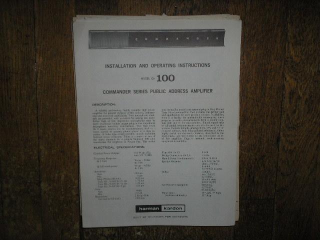 Model CA-100 PA Amplifer Service Information