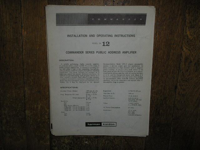 Model CA-12 PA Amplifer Service Information