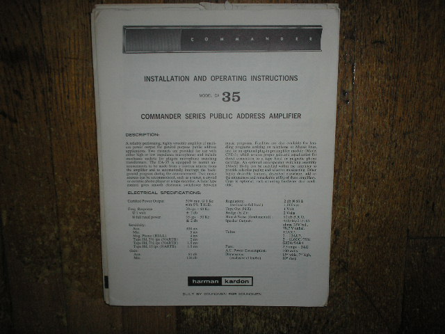Model CA-35 PA Amplifer Service Information