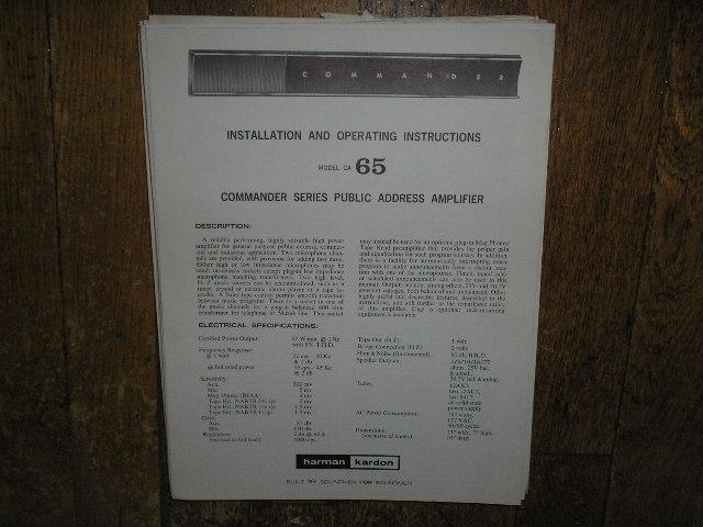 Model CA-65 PA Amplifer Service Information
