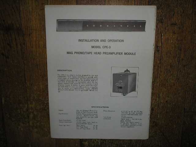 Model CPE-3 Pre-Amplifier Module Service Information