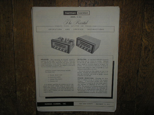 Model D-200 The Recital Tuner Amplifier Service Information