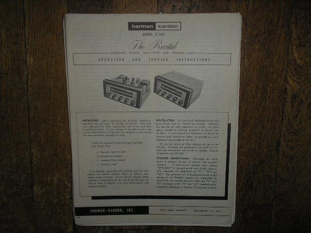 Model D-200 The Recital Tuner Amplifier Service Information