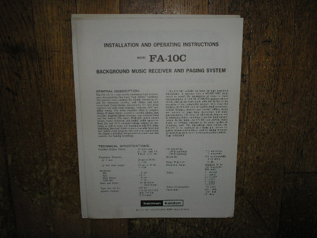 Model FA-10C Music Receiver Paging System Service Information