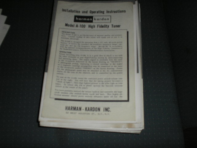 A100 AM FM TUNER MANUAL with schematic