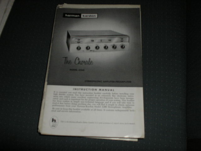 A260 THE CHORALE STEREO PREAMPLIFIER  AMPLIFIER MANUAL with schematic