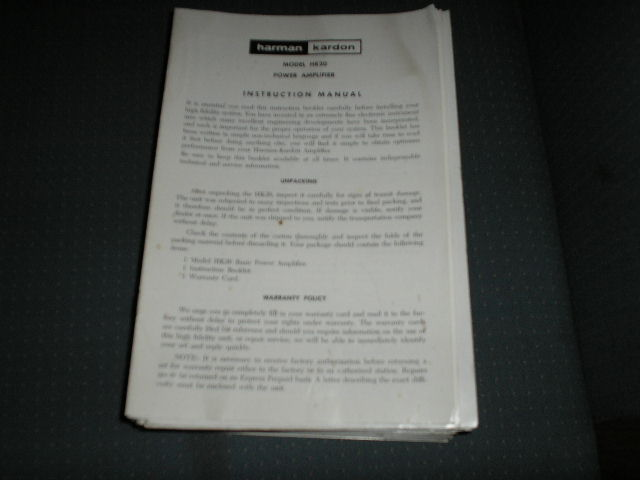 HK20 Power Amplifier Service Manual with schematic