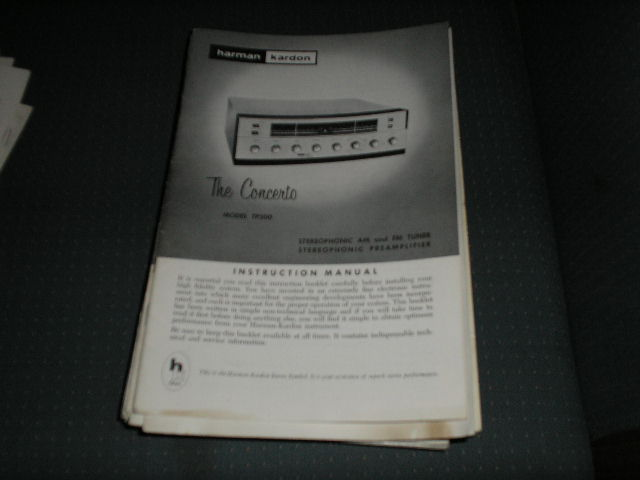 TP200 THE CONCERTO AM FM TUNER  PREAMPLIFIER MANUAL with schematic