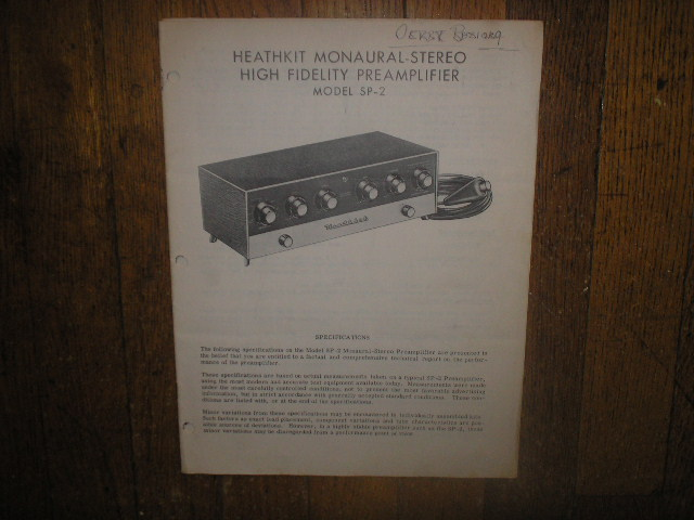 SP-2  PRE-AMPLIFIER  Assembly Manual with Schematic