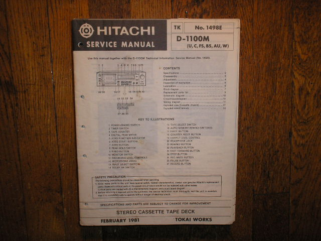 D-1100M U C FS BS AU W Stereo Cassette Tape Deck Service Manual