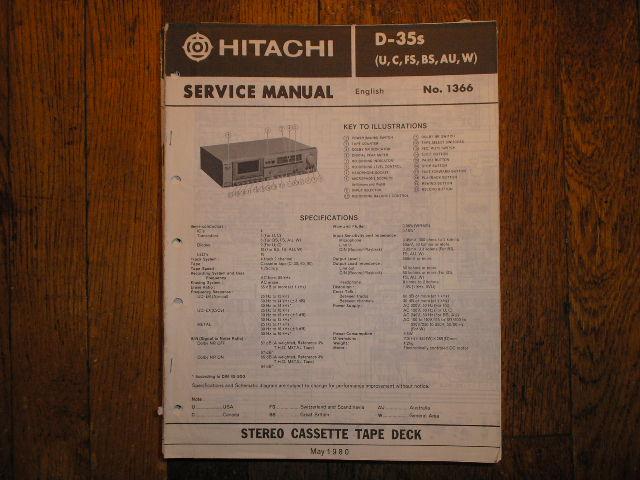 D-35S  U C W FS BS AU Stereo Cassette Tape Deck Service Manual