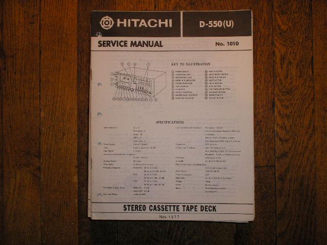 D-550 U Stereo Cassette Tape Deck Service Manual