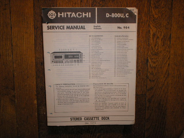 D-800 U C Stereo Cassette Tape Deck Service Manual