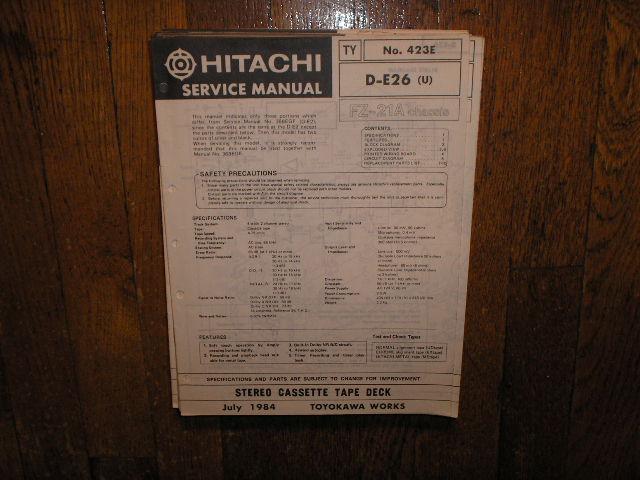 D-E26 U Stereo Cassette Tape Deck Service Manual  Also Need Manual 368EGF  DE-2  Cassette Deck Manual