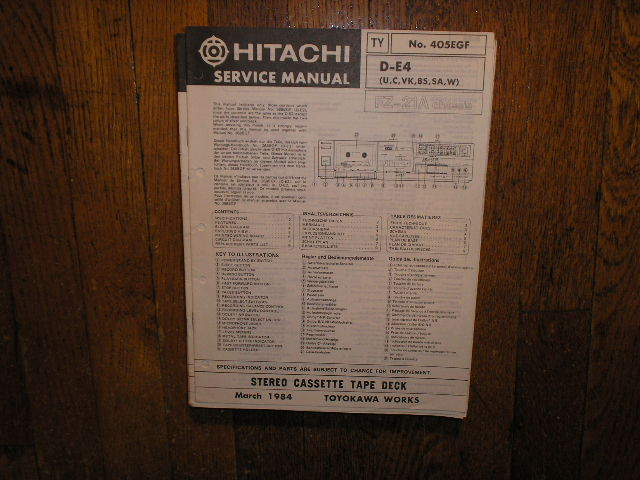 D-E4 U C VK BS SA W Stereo Cassette Tape Deck Service Manual