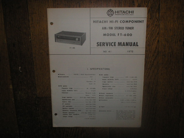FT-600 AM FM Tuner Service Manual