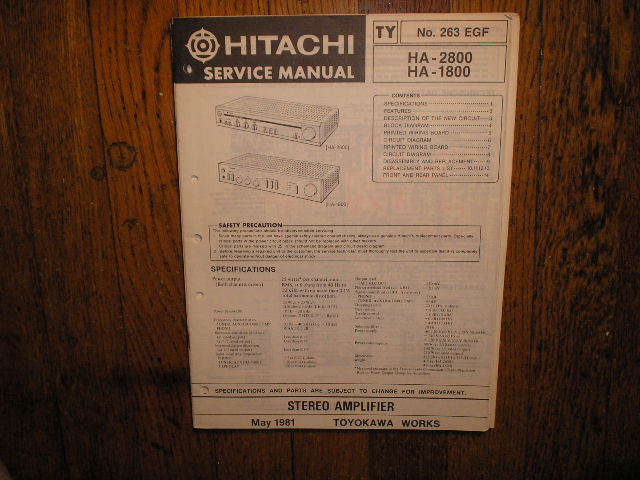 HA-1800 HA-2800 Stereo Amplifier Service Manual