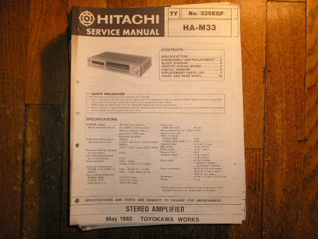 HA-M33 Stereo Amplifier Service Manual