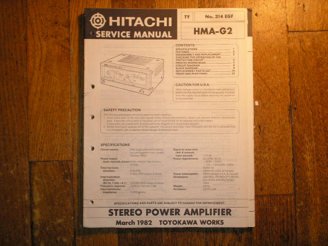 HMA-G2 Stereo Power Amplifier Service Manual