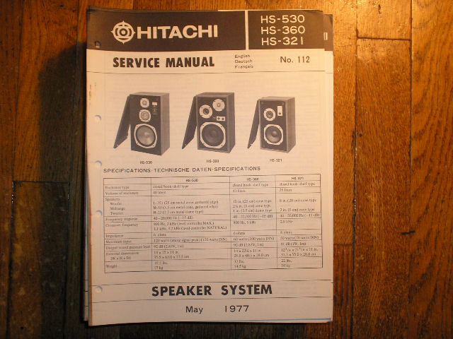 HS-360 HS-321 HS-530 Speaker System Service Manual