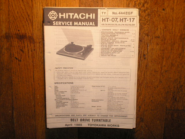Hitachi HT-07 HT-17 Turntable Service Manual..