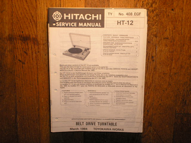 HT-12 Belt Drive Turntable Service Manual  Hitachi Turntables