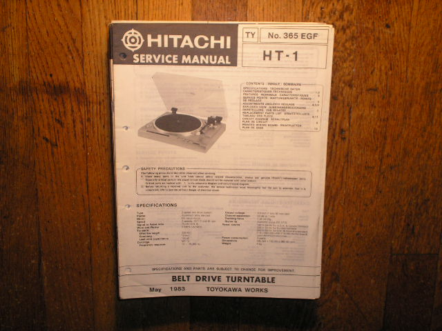 HT-07 HT-17 US CA BS SA ES ZS ZW KS VS EW Belt Drive Turntable Service Manual  Hitachi Turntables