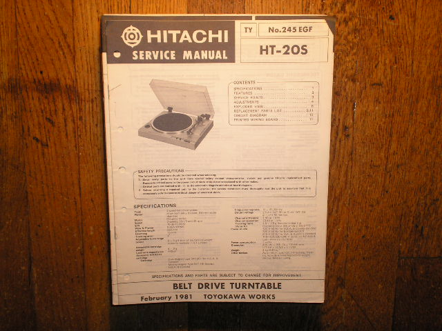 Hitachi HT-20S Turntable Service Manual..