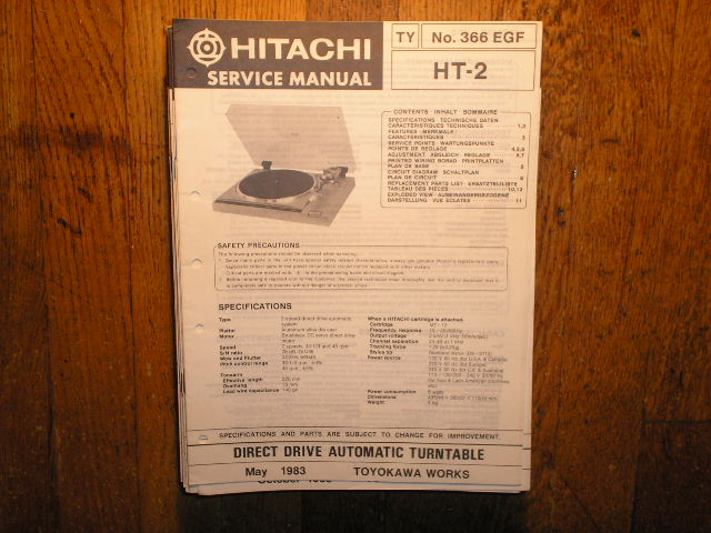 HT-2 TURNTABLE Service Manual  HITACHI ORIGINALS