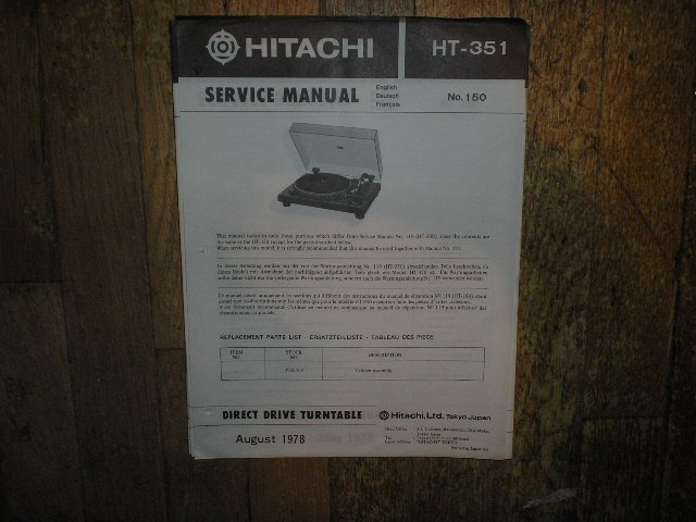 HT-351 Direct Drive Turntable Service Manual  Hitachi Turntables