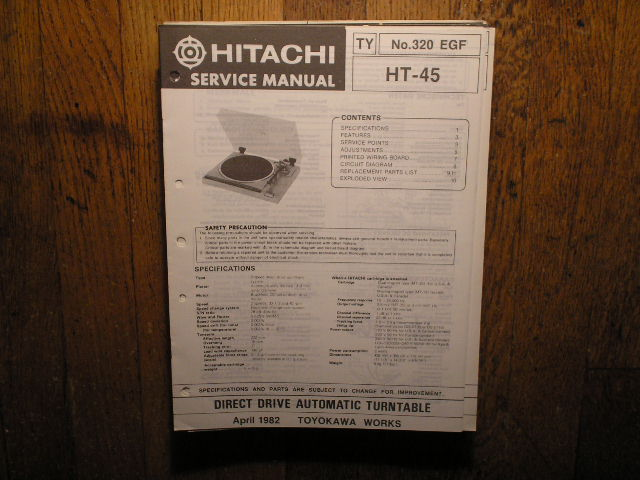 Hitachi HT-45 Turntable Service Manual..