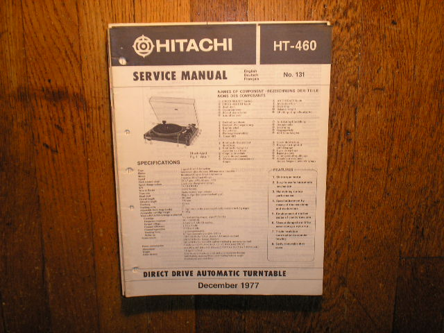 HT-460 Direct Drive Turntable Service Manual  Hitachi Turntables