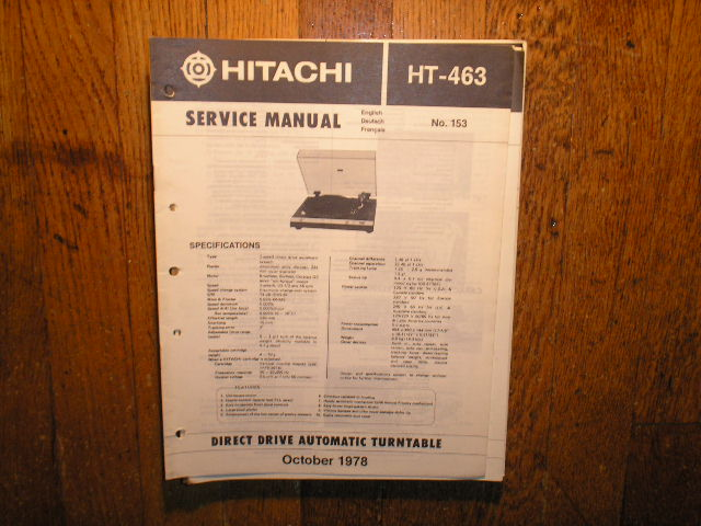 HT-463 TURNTABLE Service Manual  HITACHI ORIGINALS