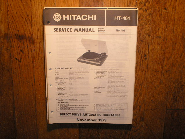 HT-464 Direct Drive Turntable Service Manual  Hitachi Turntables
