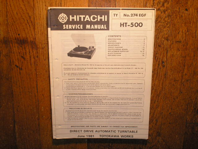 Hitachi HT-500 Turntable Service Manual..