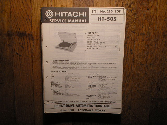 HT-50S Direct Drive Turntable Service Manual  Hitachi Turntables