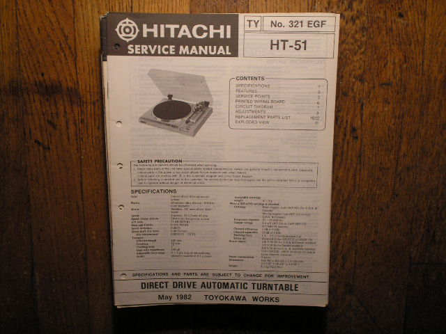 HT-51 Direct Drive Turntable Service Manual  Hitachi Turntables