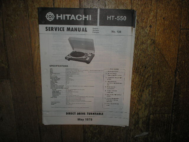 HT-550 Direct Drive Turntable Service Manual  Hitachi Turntables