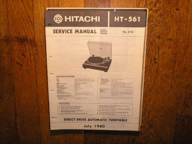 HT-561 TURNTABLE Service Manual  HITACHI ORIGINALS