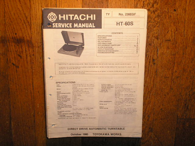 HT-60S Direct Drive Turntable Service Manual  Hitachi Turntables