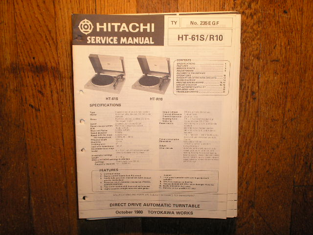HT-61S HT-R10  TURNTABLE Service Manual  HITACHI ORIGINALS