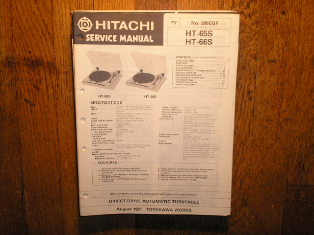 HT-65S HT-66S Direct Drive Turntable Service Manual  Hitachi Turntables