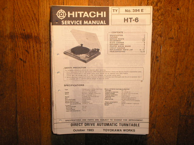 HT-6 TURNTABLE Service Manual  HITACHI ORIGINALS