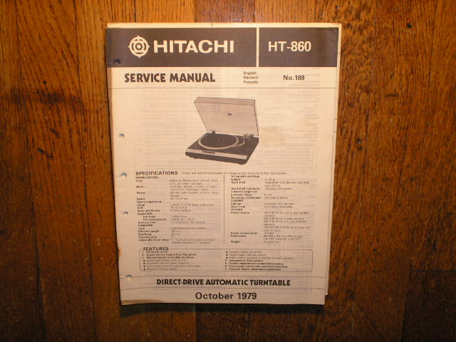 HT-860 Direct Drive Turntable Service Manual  Hitachi Turntables