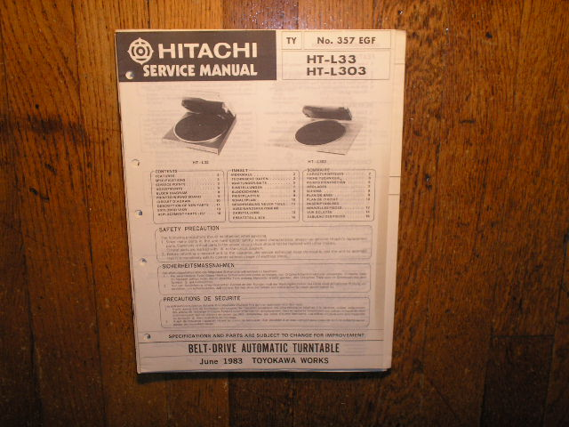 Hitachi HT-L33 HT-L303  Turntable Service Manual..